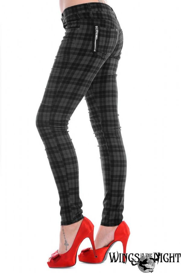 BANNED Ladies Gothic Black / Grey Check Skinny Jeans